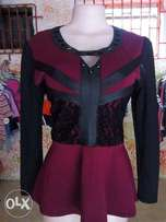 Black and Wine Top