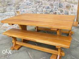 solid wood tables and benches
