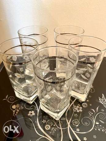 water glass with crystal 5 glasses