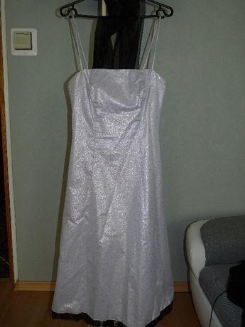 d895f0130d2500 SREBRNA SUKIENKA z czarną koronką bardzo zwiewna i elegancka R. 38  Włocławek - image 2