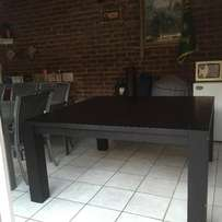 solid square black 8 seat dining room table