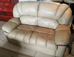 Leather lounge suite (2 seating reclining couch & 2 seating standard c