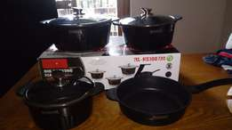 Brand new Royalty Line 7-piece non-stick marble coated cookware set