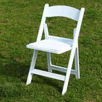 Outdoor modern white folding Wimbledon chair with padded cushion