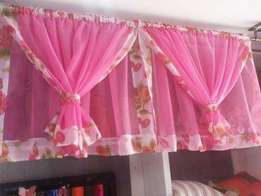 Ready made durable and elegant curtains with matching sheer. 900/-