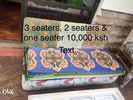 Couch 3 seaters+ 2 seaters + one seater( foam & wood)
