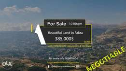 Beautiful Land in Faqra with STUNNING Viewأرض مميزة في فقرا ١٠١٠ م ٢