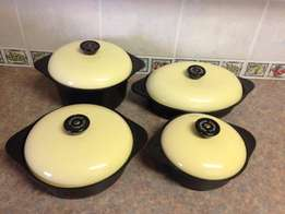 4 Cookwell Enameled Cast Iron Pots - Yellow Lids