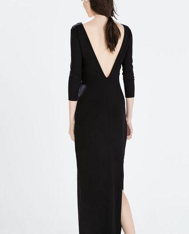 Zara nowa metka czarna sukienka maxi długi rękaw gołe plecy