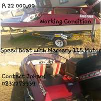 Speed Boat with Mercury 115 Motor with Trim & Tilt
