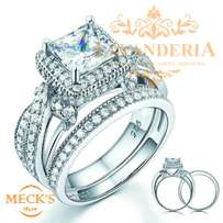 Classic Design Genuine silver double ring design engagement/party ring