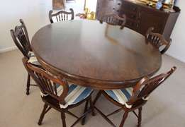 Hand-crafted Partridge Wood (Panga Panga) Dining Room Suite for sale