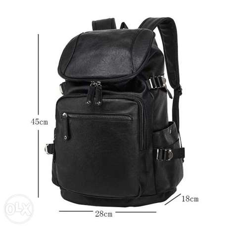 Black Backpack magic union | شنطة ظهر جلد اسود