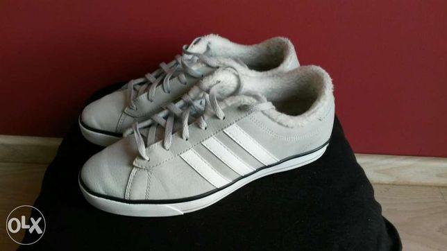 Buty Adidas Neo szare siwe z kozuszkiem na jesien zime