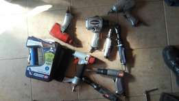 Assortment of pneumatic tools