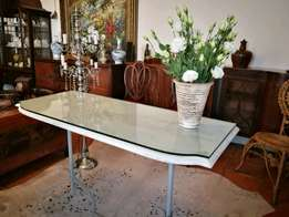 Shabby Chic Entrance Hall / Console Table. Lovely thick glass top.