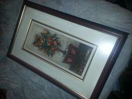 Lynette Barnard Original with a Beautiful Wooden and Gold plated Frame