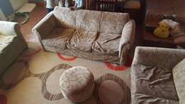 Used 7 Seater Fabric Sofa Set with Puffy