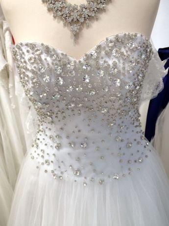Bardzo dobry Suknia ślubna princessa księżniczka tiulowa kryształki Swarovski HG21