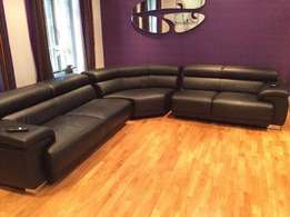 Sofa Black Contemporary Italian Leather 6 Seater corner unit.