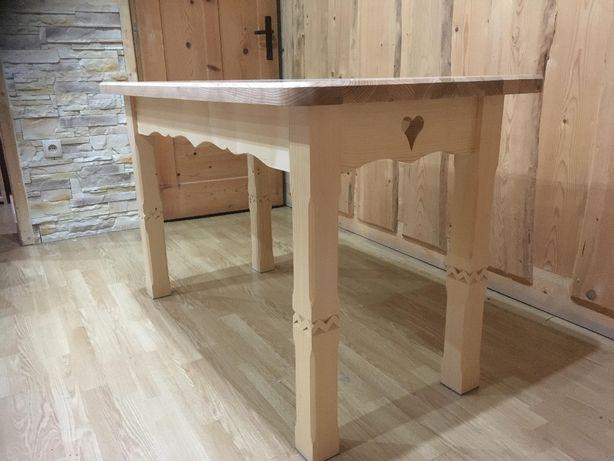 Modernistyczne Stół drewniany rzeźbiony góralski jesion 125x65 Zakopane • OLX.pl TE29