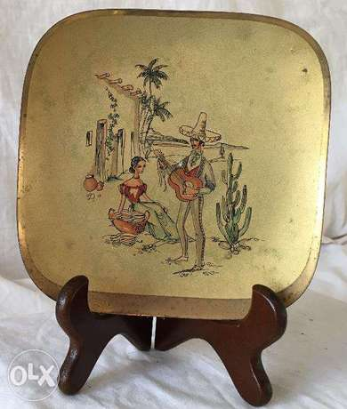 100 year old antique golden brass painted plate for wall decoration