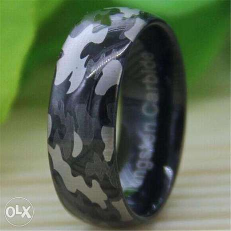 tungsten carbide camouflage army ring for men