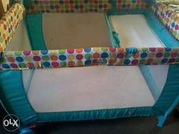 2 Level camp ing cot with change station and mattress