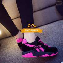 Ladies Black And Pink Sneakers
