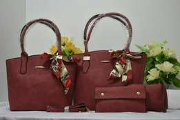 Leather lady hand bags-four in one/three in one/two in one