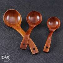 3 Wooden Spoon Large Soup Spoon