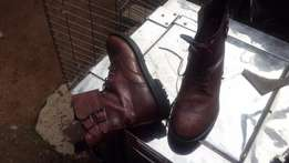 Quality Leather Brown shoe high-top R1200