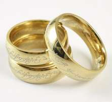 """Lord of the Rings"" Laser Engraved, gold plated 6mm rings (unisex)"