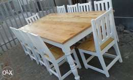 Solid pine table and benches