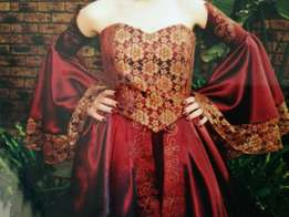 Beautiful maroon and gold matric farewell decade dress