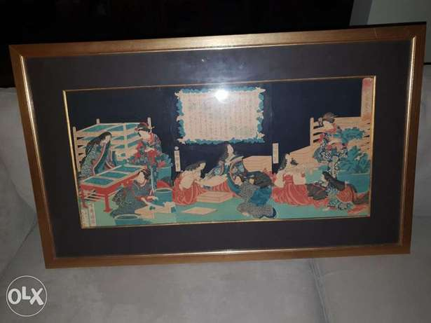 19th century authentic Japanese triptych estampes (3 framed together)