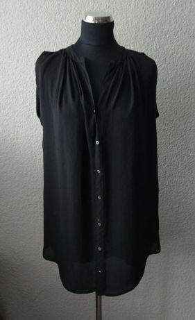 3e450cd3bb H M czarna koszula bluzka mgiełka bez rękawów długa elegancka S 36 Warszawa  - image 2