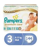Pampers Premium Care Diapers, Size 3, Mega Box (144 Count)