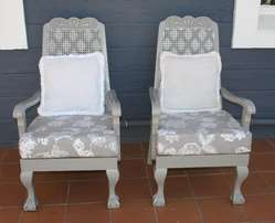 Pair of Upscaled Ball & Claw Arm Chairs