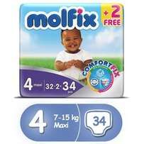 Molfix Diapers, Size 4, Economy Pack (34 Count)