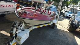 Flat deck Bass boat with 60 yamaha motor