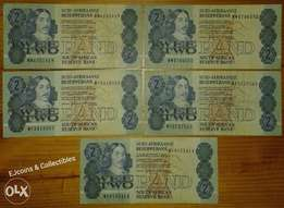 Lot of 5 S.A 1980's R2 notes (replacement)
