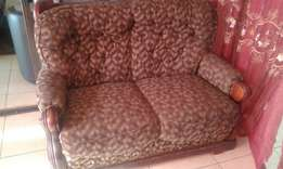 3pc Set of Suede/Wood Sofa.2 2 in 1 and 1 Single.