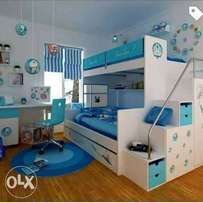 Children bed 2 step with computer desk an chair ,wardrope