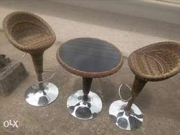 Set of Weaved Bar stool and table