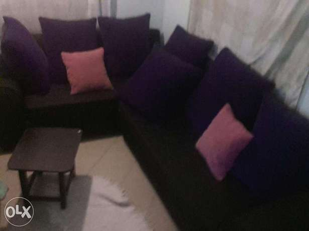 L seven Sitters Soffer on sale . Black in colour Purple BIG cushions . Mtwapa - image 7