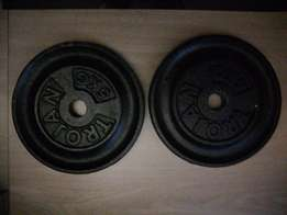 Two 5 kg trojan weights