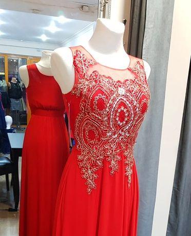 66c9b6a229 Wieczorowa długa suknia zdobiona Studniówka czerwona plus size 36-46 Gorzów  Wielkopolski - image 1