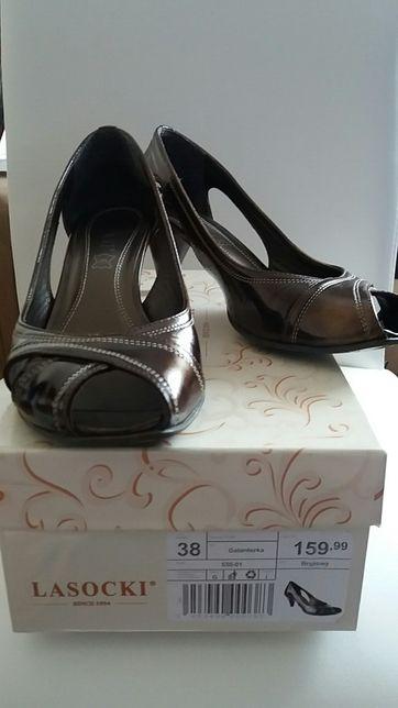 Brązowe, skórzane sandały, półbuty Lasocki r.38 Wrocław
