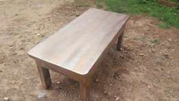 Great solid mvule hard wood table with metallic finish